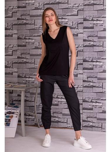 Stamina  Bayan V Yaka Kolsuz Bluz-5VS07 Siyah